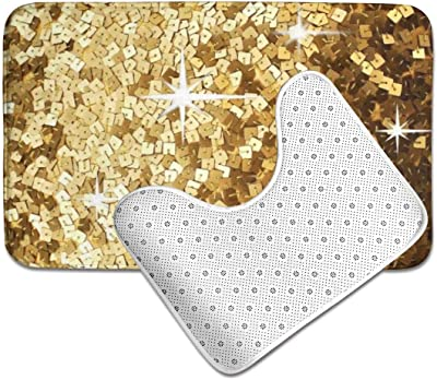 Glitter Look Solid Gold Sparkle,Extra Soft and Absorbent Rugs,Toilet Set HUNANing 2 Piece Plush Large Bathroom Rug Mat Set