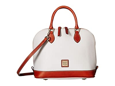 Dooney & Bourke Pebble Zip Zip Satchel (Ecru/Tan Trim) Satchel Handbags