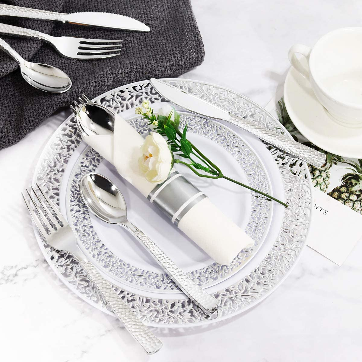 Pre Rolled Napkins with Silver Cutlery 50 Linen Like Napkins 50 Knives Includes: 50 Forks Disposable Silver Flatware 50 Spoons WELLIFE 50 Guests Plastic Silver Hammered Silverware