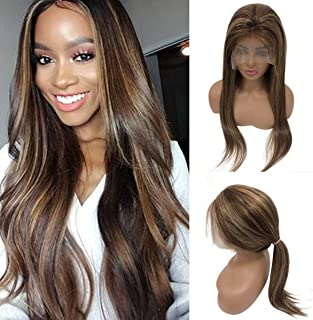Balayage Human Hair Lace Front Wig Medium Brown and Strawberry Blonde Highlights Human Hair Wigs Free Part 14 Inch 150% Density Pre Plucked Silky Straight Glueless Lace Wig for Women
