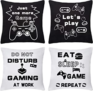 RELEASE SPINNER Gamer Controller Pillow Cover Black 18X18Inch Set of 4 Game Pillowcase Peach Skin Throw Pillow Cover for Boy Gamer Room Decor Home Decoration (White)