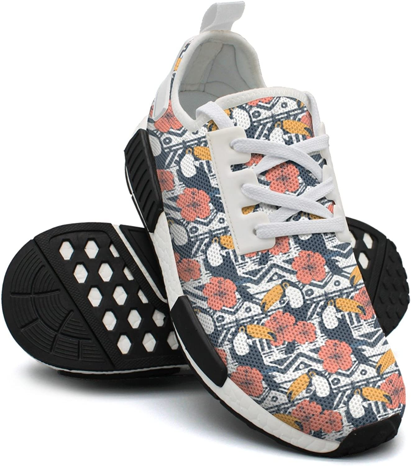 Ktyyuwwww Womens Ladies colorful Camping Tribal Pattern with Keel Billed Toucan Navy Casual Running shoes