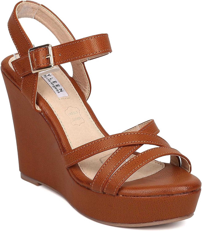 Alrisco Women Leatherette Open Toe Strappy Platform Wedge Sandal GD50