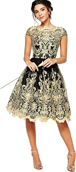 13++Billig Kleid Goldfarben