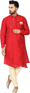 SKAVIJ Men's Tunic Art Silk Kurta Pajama Indian Traditional Wedding Party Festive Season Dress Set