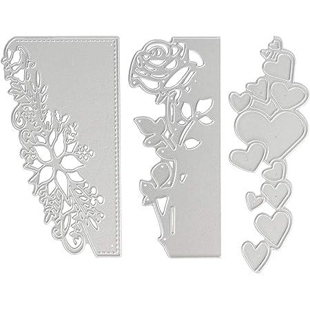 OOTSR 3pcs Matrices de découpe en métal, Pochoir 3D gaufrage de Coupe Matrices pour Artisanat de Bricolage/Scrapbooking/Fabrication de Cartes, Forme de Fleur Rose/Coeur/Dentelle