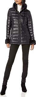 Via Spiga Women's Light Down Packable W/Detachable Faux-Fur Collar & Cuffs