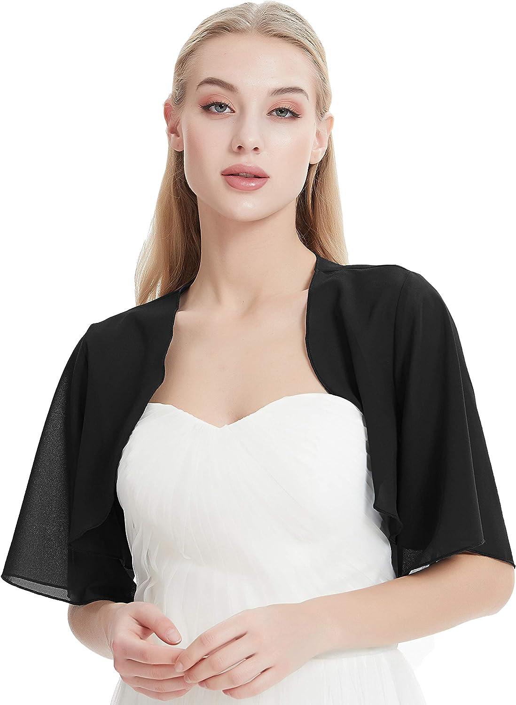 Chiffon Bolero for Evening Dresses Women's Chiffon Shrug Bolero Cardigan Wide Sleeve