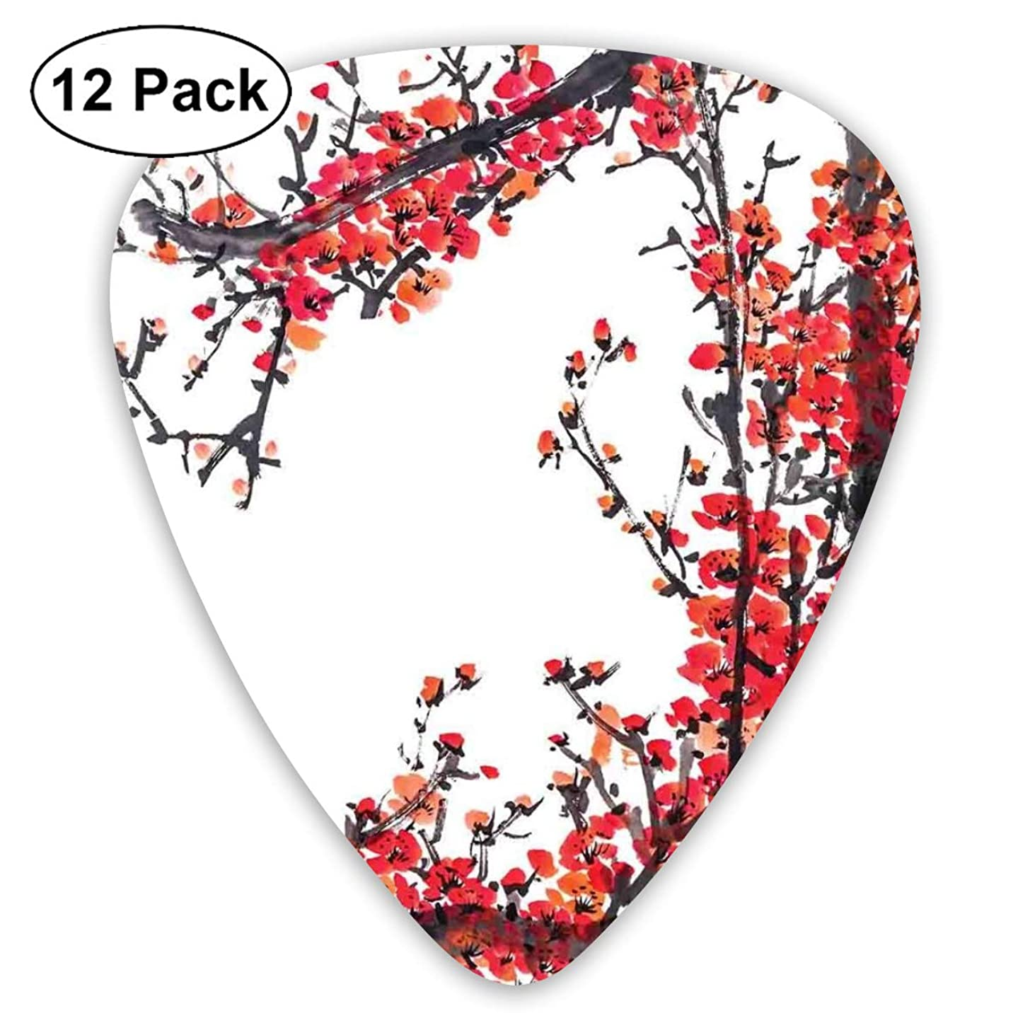 Guitar Picks - Abstract Art Colorful Designs,Japanese Cherry Blossom Sakura Branch Made With Brush Artsy Image,Unique Guitar Gift,For Bass Electric & Acoustic Guitars-12 Pack