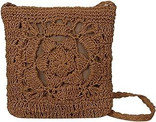 Everpert Summer Women Girls Crochet Braid Bags Shoulder Vintage Messenger Bag/Coffee