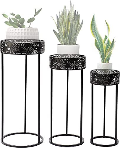 """high quality Donosura popular Indoor Plant Stand Rack, 3 Pcs Tall Plant Shelf with Outdoor Metal Iron Art Flower Pot Holder, Corner Outdoor Plant Stands for Patio Living Room Balcony popular Garden,12""""/10""""/8"""" Black, Round Set sale"""