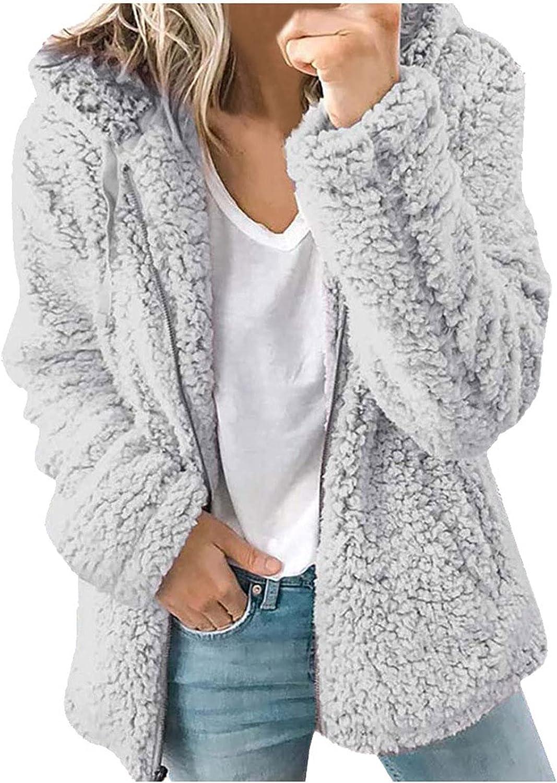Women's Fashion Long Sleeve Lapel Zip Up Faux Shearling Shaggy Oversized Coat Jacket with Pockets Warm Winter