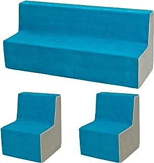 Velinda Ensemble de Meubles Chambre Enfant: 2xfauteuil+canapé, Jeu Confort Repos (Couleur: Bleu-Beige)