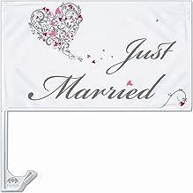 1 Autofahne JUST MARRIED weiss mit T/äubchen