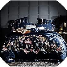 TaiGu 1000TC Egyptian Cotton Blue Purple Bedding Set Luxury Queen King Size Bed Sheet Set Embroidery Duvet Cover parure de lit Adult,Bedding Set 4,King Size 6pcs