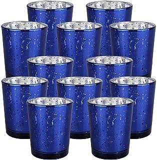 "Just Artifacts Mercury Glass Votive Candle Holder 2.75"" H (12pcs, Speckled Navy Blue) -Mercury Glass Votive Tealight Candl..."