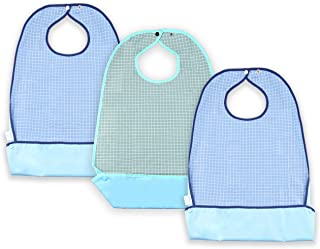 Waterproof Adult Bibs for Eating, Washable Resuable Elder Clothing Protector Set with Vinyl Backing, Large Crumb Catcher and Adjustable Snap Closure