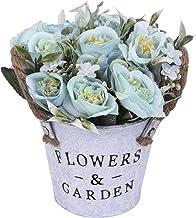 Charmly Artificial Flowers Potted European Style Design Silk Rose Arrangements Bonsai..