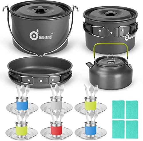 high quality Odoland 39pcs Camping Cookware new arrival Mess Kit for 6 and more, Large Size Hanging Pot high quality Pan Kettle with Base Dinner Cutlery Sets, Cups Dishes Forks Spoons Kit for Outdoor Camping Hiking and Picnic online sale