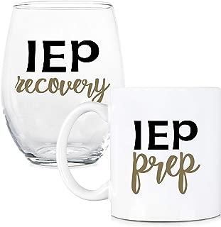 IEP Prep, IEP Recovery 11 oz Coffee Mug and 15 oz Stemless Wine Glass Set - Unique Teacher Appreciation Gift Idea for Special Education Teachers