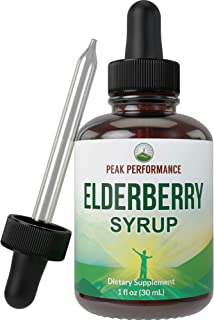 Elderberry Syrup - USA Grown Made with Organic Black Elderberry Sambucus Extract Vegan Liquid Drops by Peak Performance. I...