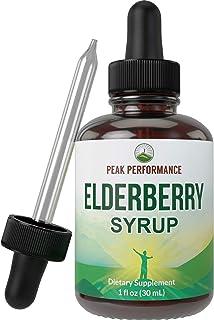 Elderberry Syrup - USA Grown Made with Organic Black Elderberry Sambucus Extract Vegan Liquid Drops by Peak Performance. I...