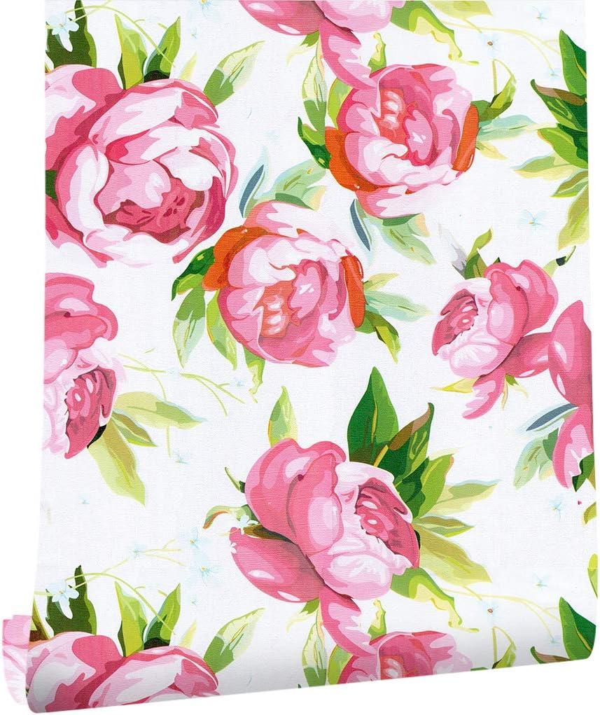 Amazon Haokhome 花の壁紙 はがせる 45cmx6m 花柄 壁紙シール赤 緑 白り付き 簡単 屋本舗 家の装飾 壁紙