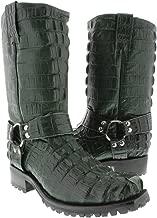 El Presidente - Men's Green Full Crocodile Tail Leather Biker Motorcycle Boots 13 E US