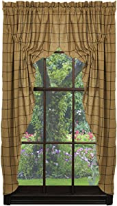 Olivia's Heartland Soft Cotton Burlap Tan Check Prairie Curtain Set