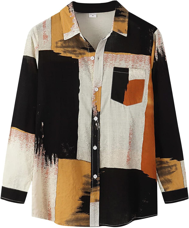 Mens Cotton Linen Button Down Shirt Color Block Long Sleeve Lightweight Flannel Jackets Tops Sweatshirts