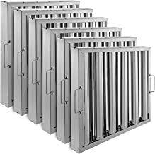 VBENLEM Set of 6 Restaurant Hood Filter 20 x 16 Inch 430 Stainless Steel Hood Filter with 5 Grooves Range Hood Filter for Commercial Kitchen