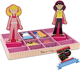 Abby & Emma: Dress Up Wooden Doll & Stand Play Set Bundle with 1 Theme Compatible M&D Scratch Art Mini-Pad (04940)