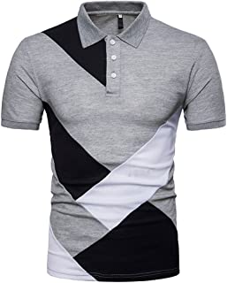 Moda Camiseta Hombre Manga Corto,Tops Hombres Personalidad De La Moda Casual Patchwork Slim Camiseta De Manga Corta Top Blusa