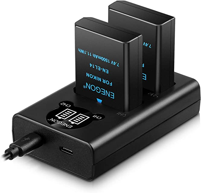 EN-EL14/EL14a Batería de Repuesto (Paquete de 2) y Smart LED Cargador Dual USB para Nikon EN-EL14/EL14a y Coolpix P7000P7800 DSLR D3100D3200D3300D3400D5100 D5200D5300D5500DF