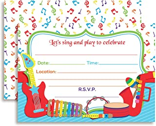 Musical Instruments Sing and Play Themed Birthday Party Invitations, 20 5
