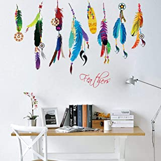 Coloured feathers stickers Removable for Living Room Bedroom Home Decoration Wall Decal