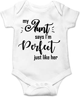My Aunt Says I'm Perfect Just Like Her - Soon to Be Aunt Reveal Ideas - Cute Infant One-Piece Baby Bodysuit