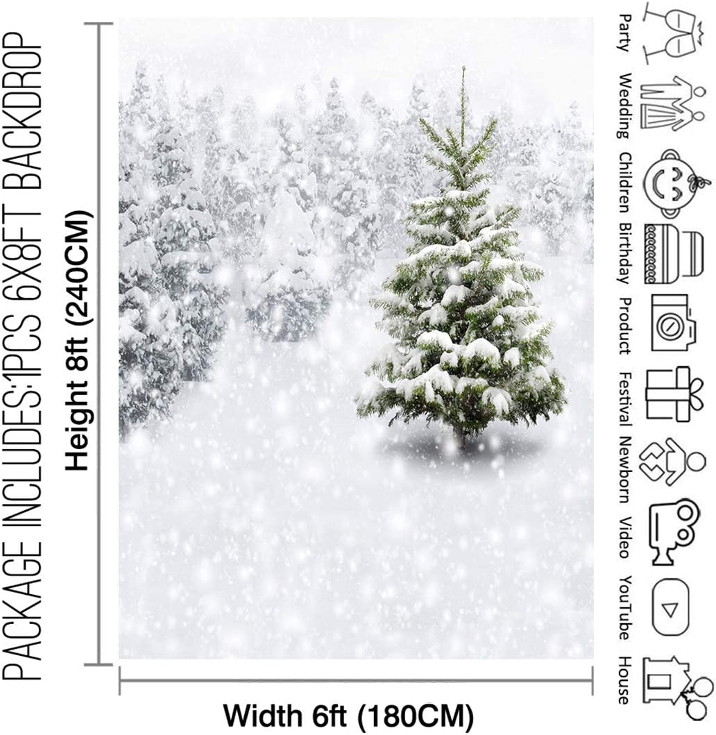 Allenjoy 8x8ft Fabric Christmas Eve Winter Snowy Backdrop Party Supplies for Xmas New Year Decorations Children 1st First Birthday Baby Shower Photo Booth Shoot Studio Portrait Prop Photoshoot Favors