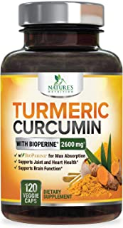 Turmeric Curcumin with Bioperine 95% Curcuminoids 2600mg with Black Pepper for Best Absorption, Made in USA...