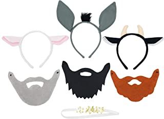 Nativity Dress Up Headband and Mask Set For Kids - Includes 3 Wise Men Beards, 3 Animals and Angel Halo