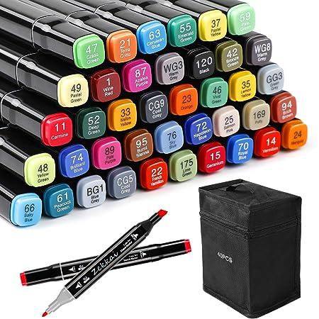 Zekkai Marker Pen Colores Rotuladores Graffiti 40 Colores Rotuladores de Doble Punta, Ideal para Niños, Adultos, Artistas, Buen Regalo para Navidad, Año Nuevo, Fiesta