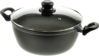 Professional Forged Aluminum Casserole - Extra Thick Gauge, Ultra Non-Stick Stone Finish, Glass Lid with Steam Hole - By Unity (7 QT, Dark Grey)