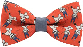 Grey mouse bow tie red gabardine material unisex pre-tied pattern, by Bow Tie House