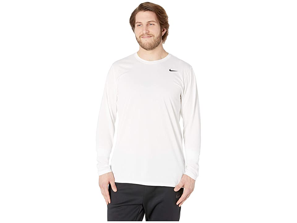 Nike Big Tall Dry Tee Long Sleeve Legend 2.0 (White/Black/Black) Men