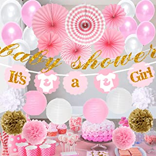 Baby Shower Decorations for Girl - It's A Girl | Banner Theme | Pink White & Glitter Gold | Decor Tissue Paper Fans Flower Pom Poms Party Supplies Tablecloth Favors Balloons
