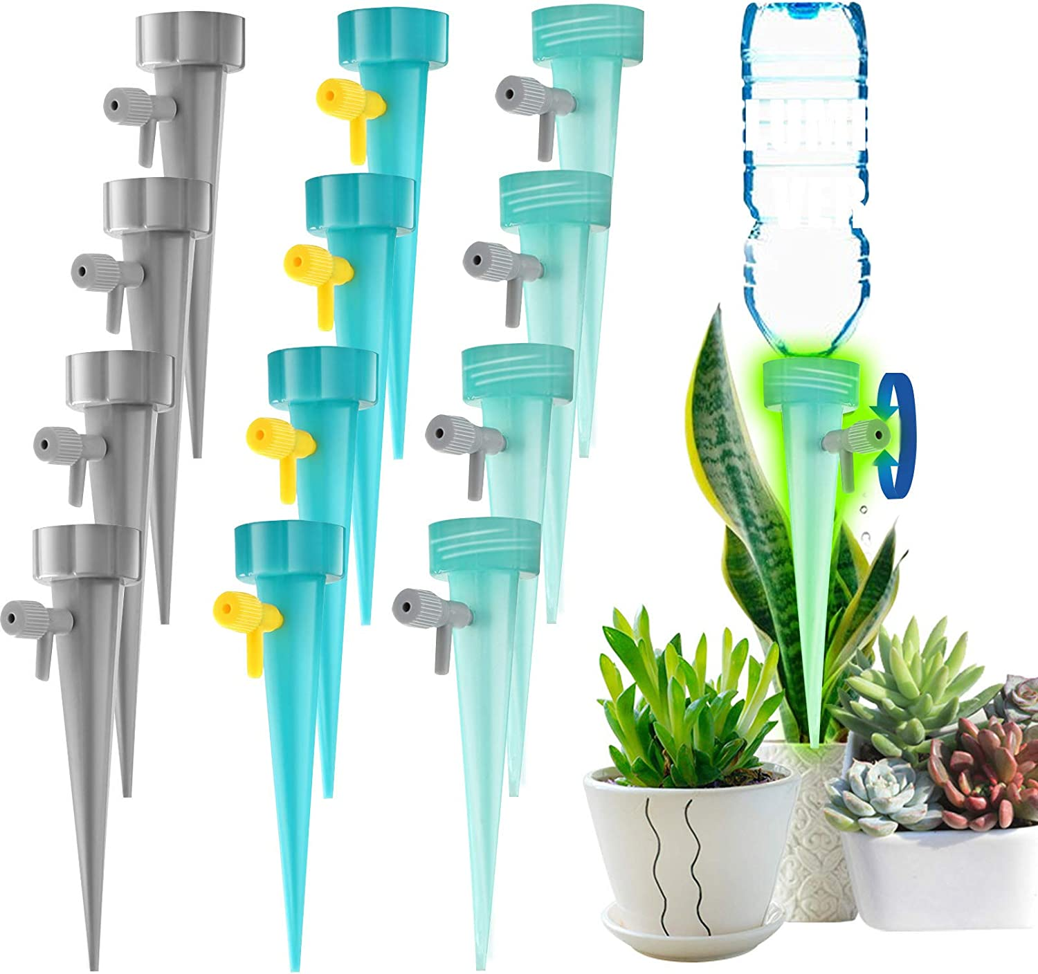 QQCherry Self Watering Spikes,Slow Release Control Valve Switch Automatic Irrigation Watering Drip System,Adjustable Water Volume Drip System for Outdoor and Vacation Plant Watering,12Pack