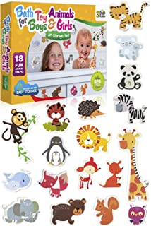 3 Bees & Me Animal Bath Toys for Boys and Girls – Fun Foam Animals with Bath Toy Storage Bag – 18 Piece Non Toxic Kids Bath Set