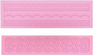 Prokitchen Large Flower Lace Fondant Molds Silicone Lace Embosser Mold Fondant Impression Mats for Cake Decorating Set of 2 (Pink)