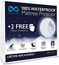 Everlasting Comfort Waterproof King Size Mattress Protector - 2 Pillow Protectors - Fitted Sheet - Quiet Dual Layer Membrane