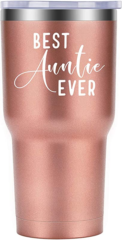 Best Auntie Ever Aunt Gifts Funny Birthday Mother S Day Christmas Gift For Aunts Coolife Stainless Steel Novelty Wine Tumbler Insulated Stemless Sippy Cup With Lid